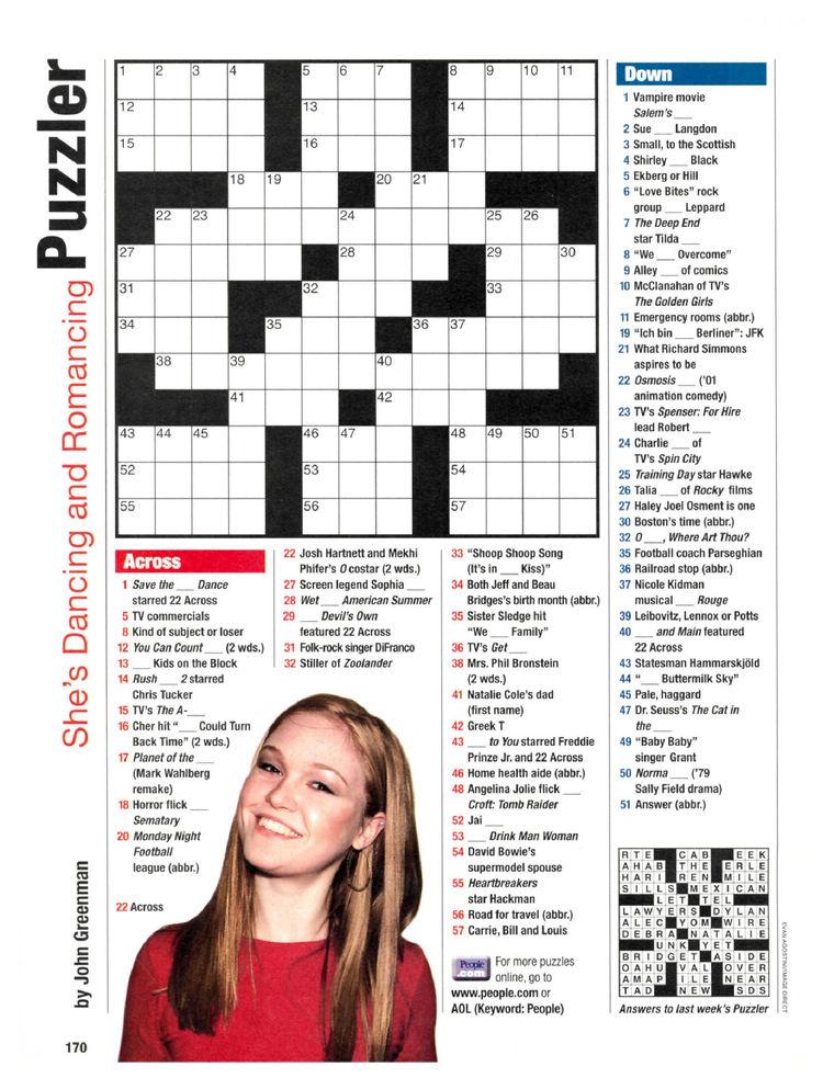 image regarding People Magazine Crossword Printable called Men and women Journal Crosswords