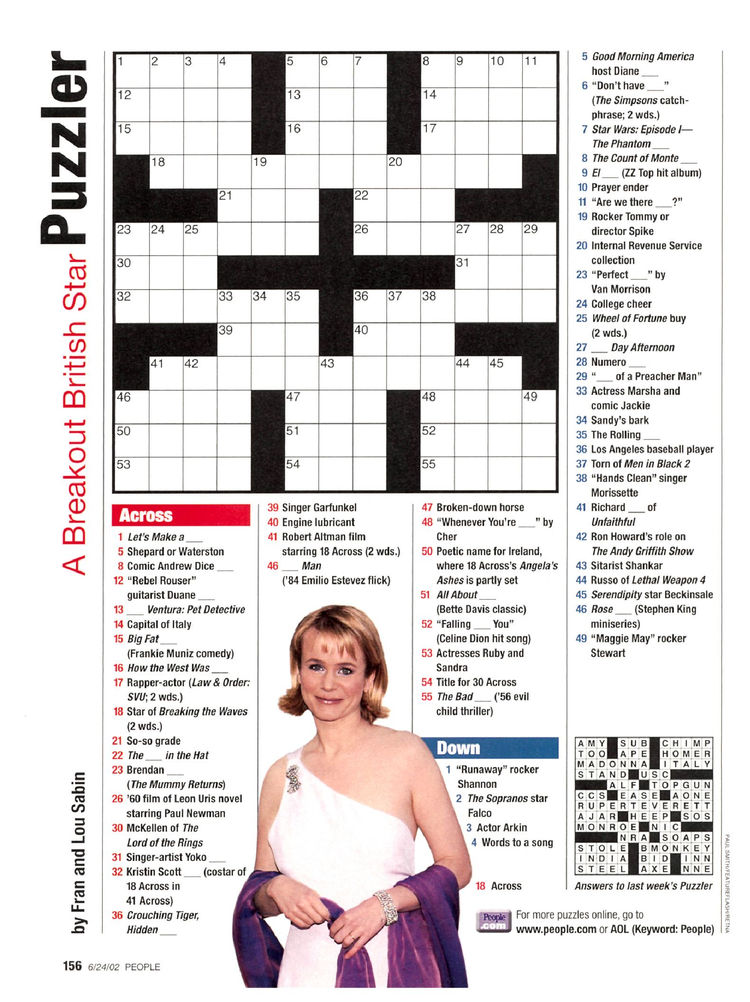 photograph regarding Star Magazine Crossword Puzzles Printable titled People today Journal Crosswords