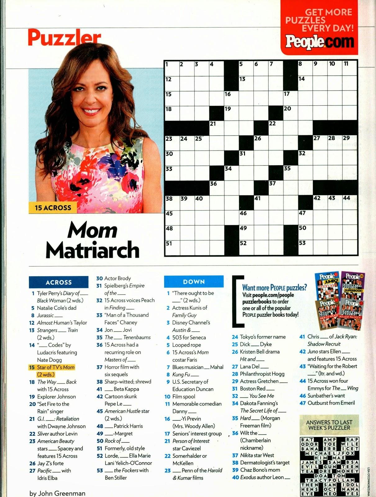 graphic regarding People Magazine Crossword Printable known as These Journal Crosswords