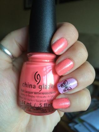 Pink polish with decals