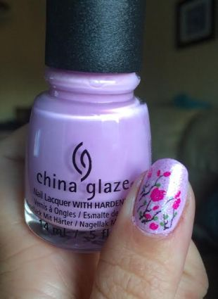 purple polish with decals